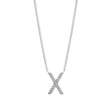 """""""X"""" Initial necklace with 0.10 Carat TW of Diamonds in 10ct White Gold"""