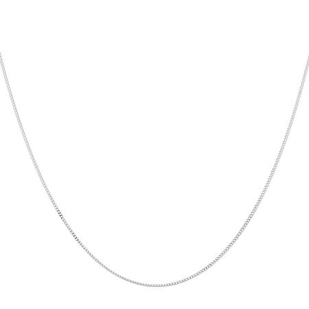 """45cm (18"""") Solid Curb Chain in 10ct White Gold"""
