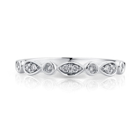 Wedding Band with Diamonds in 10ct White Gold