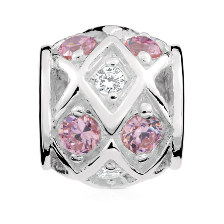 Pink & White Cubic Zirconia Charm