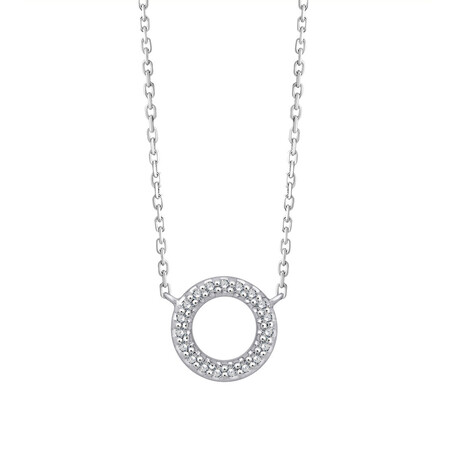 Circle Necklace With Diamonds In Sterling Silver