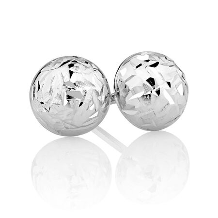 7mm Stud Earrings in 10ct White Gold