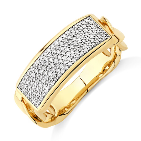 Pave Link Ring with 0.40 Carat TW of Diamonds in 10ct Yellow Gold