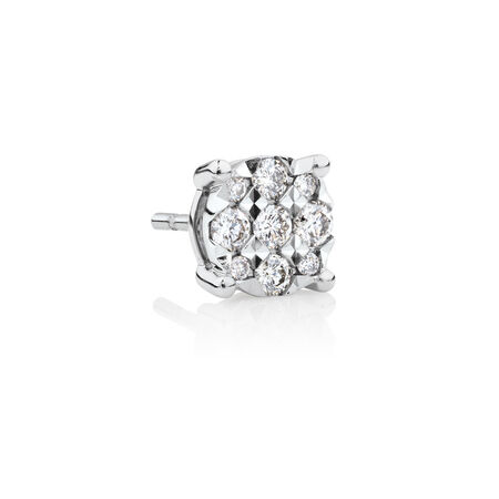 Men's Stud Earring with 0.17 Carat TW of Diamonds in 10ct White Gold