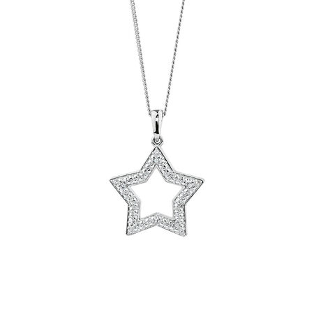 Star Pendant with Diamonds in Sterling Silver