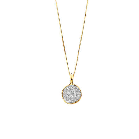 Circle Pendant With 0.20 TW Of Diamonds In 10ct Yellow Gold