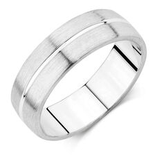 Mens Wedding Band In 10ct White Gold
