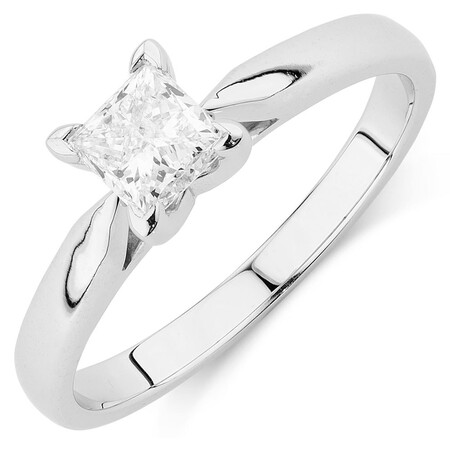 Evermore Solitaire Engagement Ring with 0.70 Carat TW Diamond in 14ct White Gold
