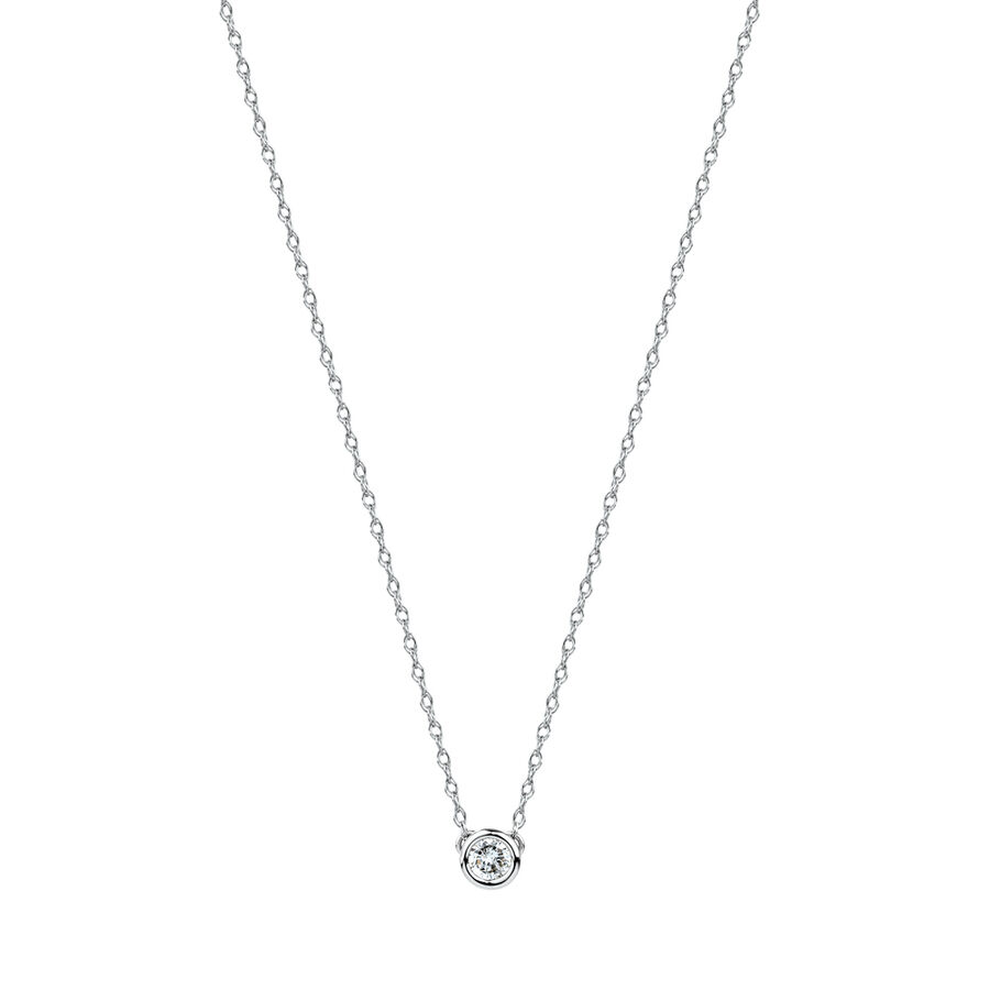 Round Pendant Necklace with Diamonds in Sterling Silver