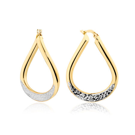 Twist Hoop Earrings in 10ct Yellow & White Gold