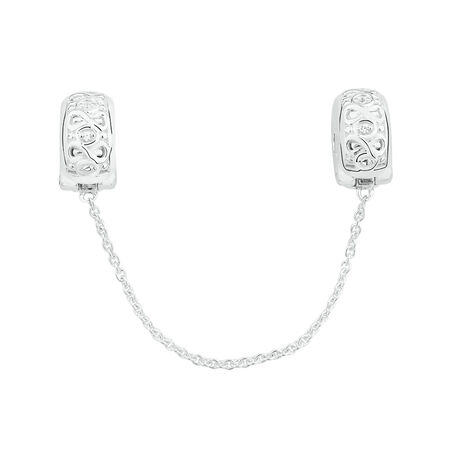 Infinity Safety Chain and Stopper with Cubic Zirconia in Sterling Silver