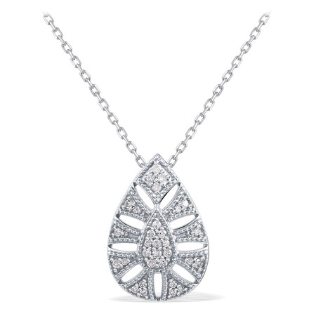 Art Deco Pear Necklace With Diamonds In Sterling Silver