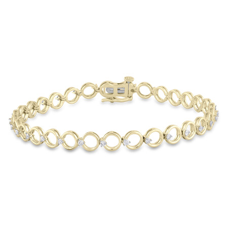 Circle Bracelet with 0.50 Carat TW of Diamonds in 10ct Yellow Gold