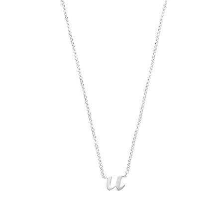 U Initial Pendant in Sterling Silver