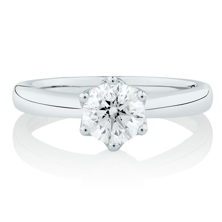 Whitefire Solitaire Engagement Ring with a 1 Carat TW Diamond in 18ct White & 22ct Yellow Gold
