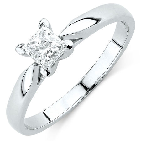 Solitaire Engagement Ring with 1/2 Carat Diamond in 14ct White Gold