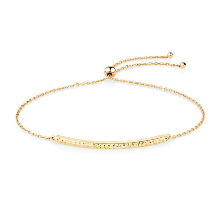 Adjustable Bar Bracelet in 10ct Yellow Gold