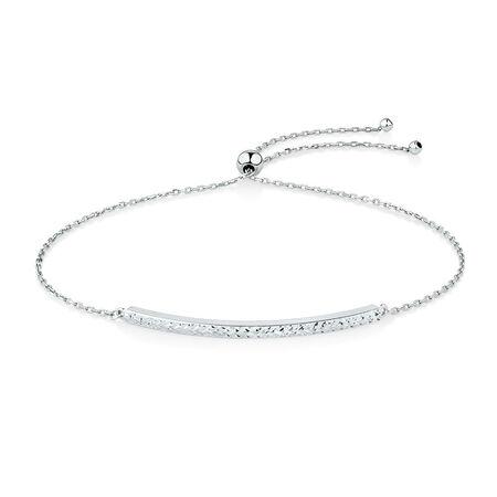 Adjustable Bar Bracelet in 10ct White Gold
