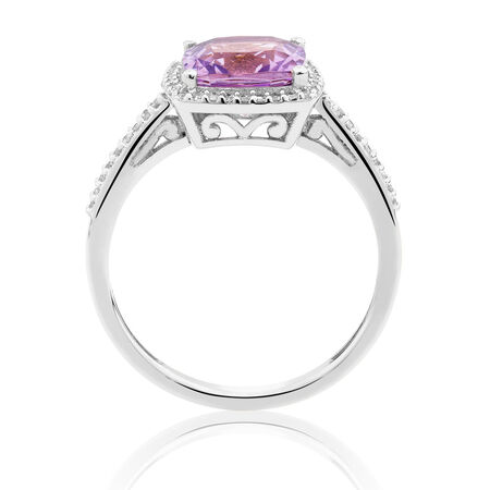 Ring with Amethyst & 0.15 Carat TW of Diamonds in 10ct White Gold
