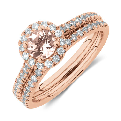 Evermore Bridal Set with Morganite & 0.54 Carat TW of Diamonds in 14kt Rose Gold