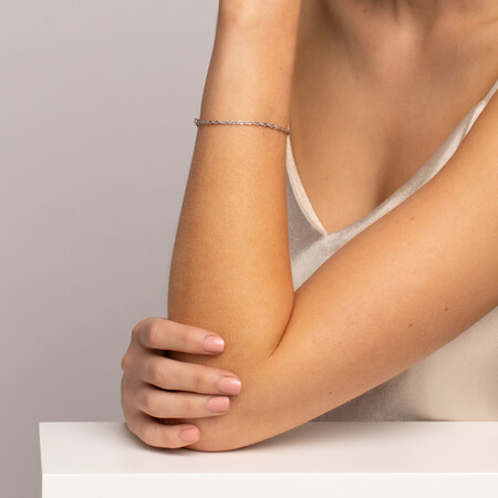"17cm (6.5"") Singapore Bracelet in 10ct White Gold"
