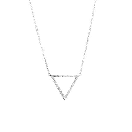 Geometric Triangle Pendant with Cubic Zirconia in Sterling Silver with Chain