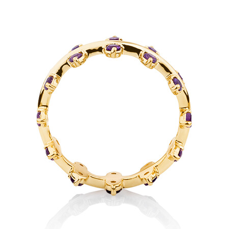 Double Zipper Ring with Natural Amethyst in 10ct Yellow Gold