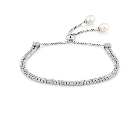 Adjustable Bracelet with Created White Sapphire & Cultured Freshwater Pearl in Sterling Silver
