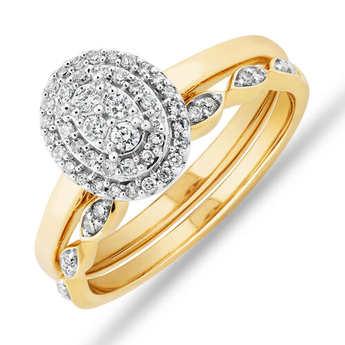 Evermore Double Halo Bridal Set with 0.25 Carat TW of Diamonds in 10ct Yellow & White Gold