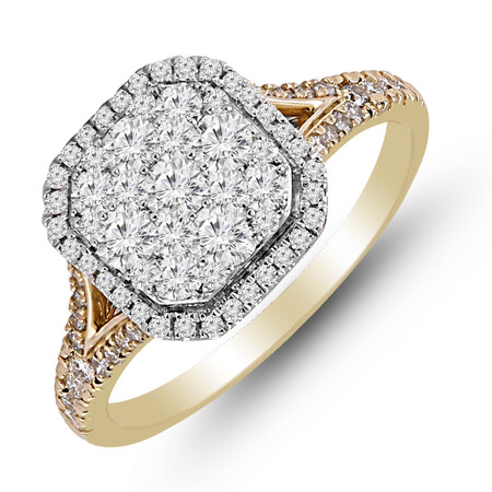 Cluster Ring with 1.00 Carat TW of Diamonds in 14ct Yellow & White Gold