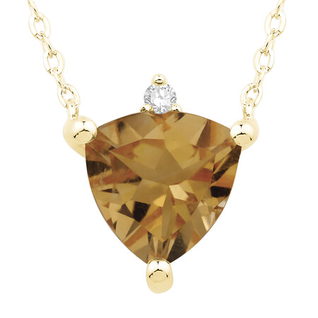 Necklace with Citrine and Diamond in 10ct Yellow Gold