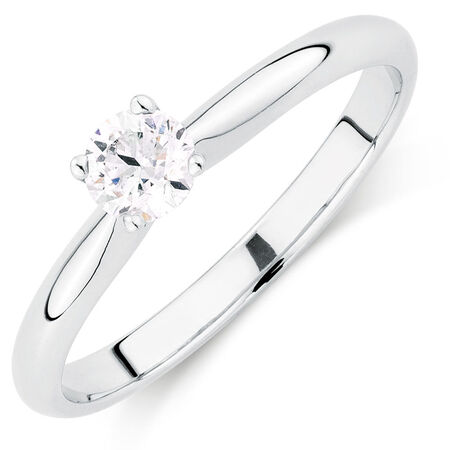 Evermore Colourless Solitaire Engagement Ring with a 1/3 Carat Diamond in 14ct White Gold