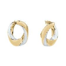 Oval Satin Earrings in 14ct Yellow Gold
