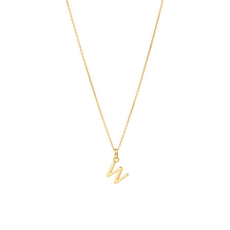 """""""W"""" Initial Pendant with Chain in 10ct Yellow Gold"""