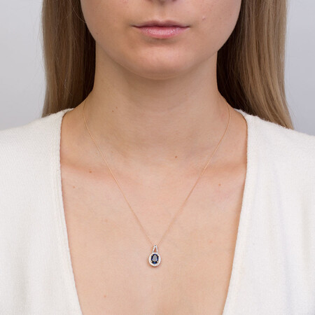Pendant with Created Blue Sapphire & Diamonds in 10ct Yellow Gold