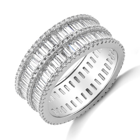 Barrel Ring with Cubic Zirconia in Sterling Silver