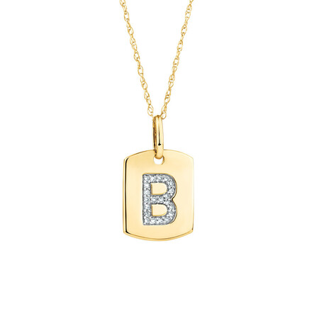 """B"" Initial Rectangular Pendant With Diamonds In 10ct Yellow Gold"