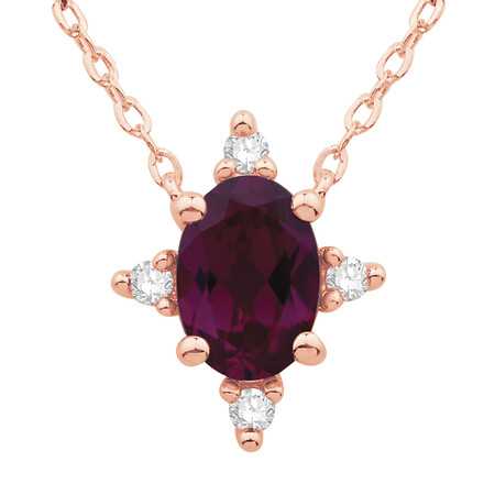 Pendant with Rhodolite Garnet and Diamond in 10ct Rose Gold