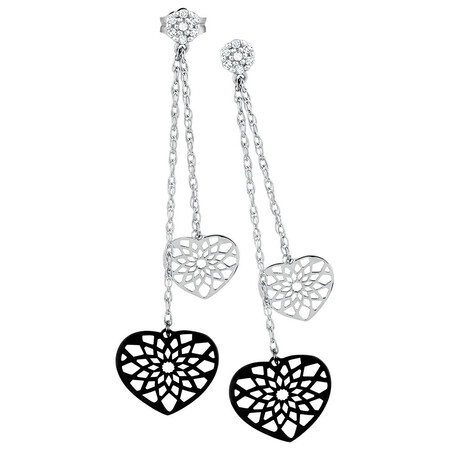 Online Exclusive - Drop Earrings with Diamonds in 10ct White Gold
