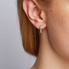 Hoop Earrings with 0.15 Carat TW of Diamonds in 10ct Yellow Gold