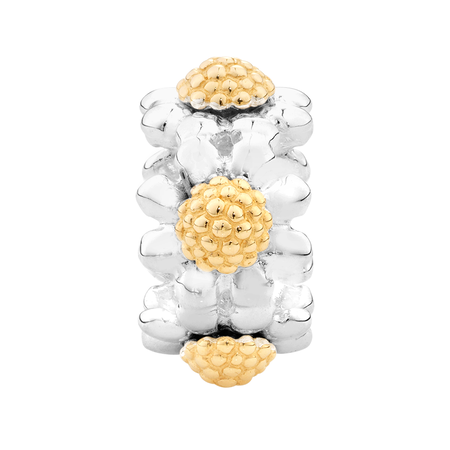 10ct Yellow Gold & Sterling Silver Flower Charm | Tuggl