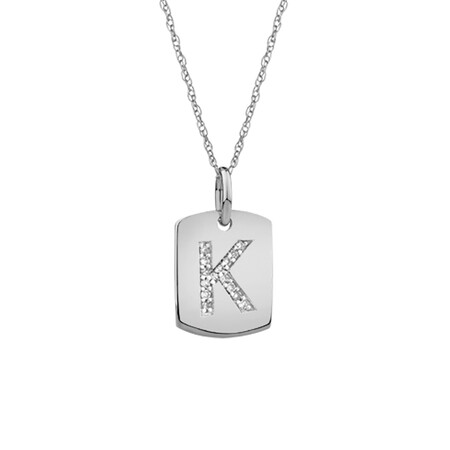 """""""K"""" Initial Rectangular Pendant With Diamonds In 10ct White Gold"""