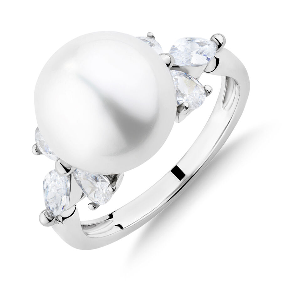 Ring with Cultured Freshwater Pearl & Cubic Zirconia in Sterling Silver