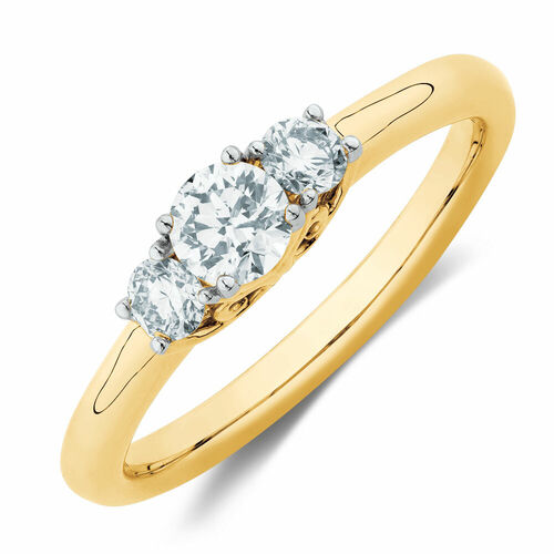 Three Stone Engagement Ring with 0.50 Carat TW of Diamonds in 10ct Yellow Gold