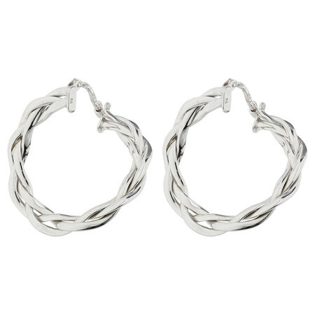 Online Exclusive - Patterned Hoop Earrings in 10ct White Gold