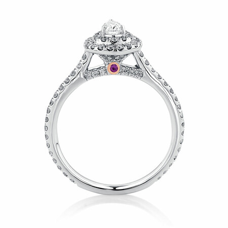 Sir Michael Hill Designer Double Halo Engagement Ring with 0.87 Carat TW of Diamonds in 14ct White Gold