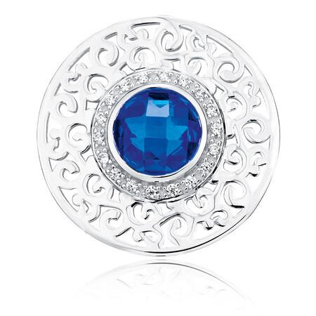 Blue Cubic Zirconia & Sterling Silver Coin Locket Insert