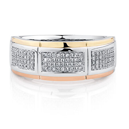 Men's Ring with 0.33 Carat TW of Diamonds in 10ct Yellow, White & Rose Gold
