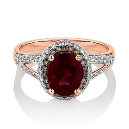 Ring with 0.50 Carat TW of White & Brown Diamonds & Rhodolite Garnet in 10ct Rose Gold
