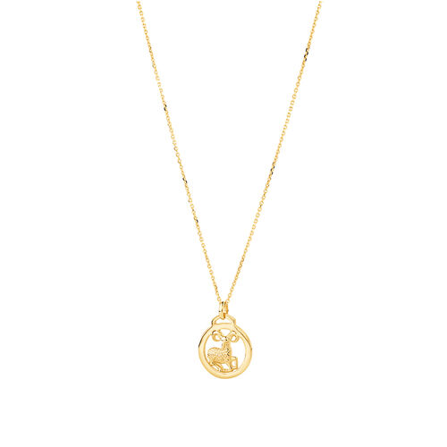Aries Zodiac Pendant with Chain in 10ct Yellow Gold